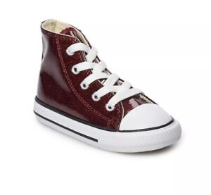 NEW Girls' Converse Chuck Taylor All Star Glitter High Top Shoes Burgundy 4T