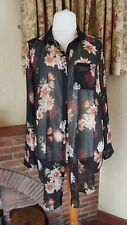BLACK FLORAL SHEER LONG TUNIC DRESS TOP FROM NEW LOOK - SIZE 20  - SUMMER