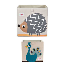 3 Sprouts Childrens Foldable Fabric Storage Box Soft Toy Bin, Hedgehog & Peacock