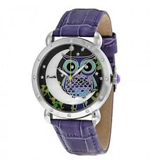 "Bertha Watch ""Ashley"" BR2002 Owl & Moon~MOP Face~Purple Leather Band~New in Box"