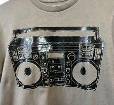 Old Navy Men's Boom Box Graphic Casual Short Sleeve T-shirt Gray Black Small