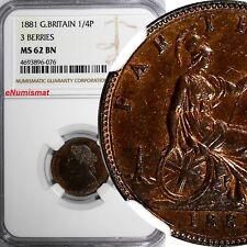 Great Britain Victoria Bronze 1881 Farthing 3 BERRIES NGC MS62 BN KM# 753