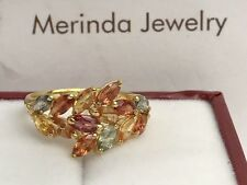 14k Solid Yellow Gold Cute Cluster Ring Natural Colors Sapphire 2.50TCW, Sz 7