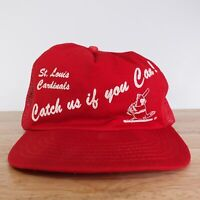 VTG ST LOUIS CARDINALS CATCH US IF YOU CAN RED VENTED SNAPBACK BASEBALL HAT CAP