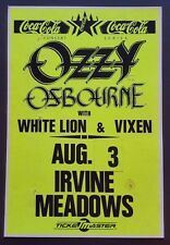 Ozzy Osbourne/White Lion/Vixen Original Promo Concert Poster 1989 Black Sabbath
