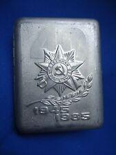 RUSSIA USSR CIGARETTE BOX ALUMINIUM 1945 -1985 COMMUNISM SYMBOL LOOK SCANS 105mm