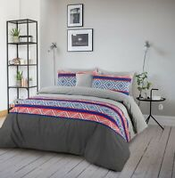 King Size Quilt Duvet Doona Cover With Pillowcases Set  Cotton Reversible Grey