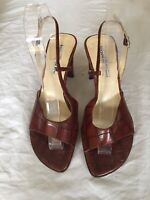 Luciano Barachini Women Brown Leather Slingback Sandals Size 6(H12).