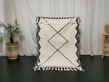 Moroccan Handmade Beni Ourain Wool Rug 3'7x4'9 Geometric Berber White Black Rug