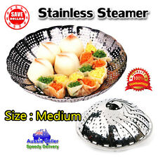 1 x Medium Folding Stainless Steel Steamer Basket Cooker Food Vegetable 25cm