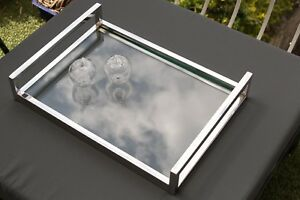 Zeri Mirror Pollished Stainless Steel Tray With Clear Tempered Glass.