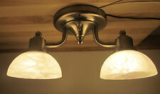 Nickel 2 Arm 12 VOLT RV Trailer White Alabaster Ceiling Dinette Light Lamp Small