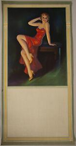 1940s Pearl Frush Brudon Vintage Calendar Blank Pin Up Elegant Leggy Redhead