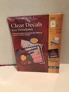 """Clear Decals for Windows 3 sheets 8-1/2"""" x 11"""" Ink Jet Avery #53212 NEW SEALED"""