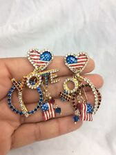 Fun Vtg Lunch At The Ritz Enamel Vote Flag Heart Gold Tone  Pierce earrings