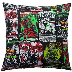 """16"""" Square Cushion Cover - B-Movie Gothic Poster Alternative Film Zombie Gift"""