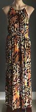 AS NEW DOTTI Animal Print Elasticised Waist Sleeveless Maxi Dress Size 12