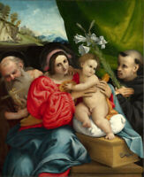 VIRGIN AND CHILD SAINTS JEROME AND NICHOLAS OF TOLENTINO Painting by L. LOTTO