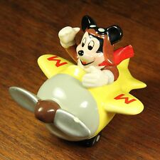 Vintage Mickey Mouse Figurine Walt Disney Schmid Pilot Flying Yellow Air Plane