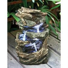 Cascading Weathered Stone Tree Branches Waterfall Fountain w/ LED Lights & Pump