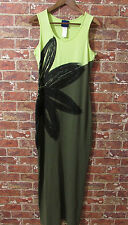 Kenzo Jeans Maxi Dress Green sz L Flower Graphic Summer Beach Holiday