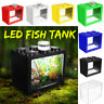 US Mini Fish Tank LED Lighting Clear Ornament Aquarium Office Desktop Home Decor