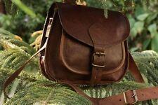 Women Purse Vintage Genuine Brown Leather Cross Body Shoulder Handmade bag (Q)