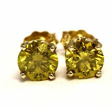 14k yellow gold 1.52ct SI2 enhanced yellow green color diamond stud earrings