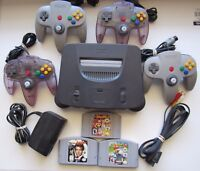 Nintendo 64 N64 Console System w/ 4 Controllers Super Smash Bros Mario Kart 007