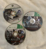 Xbox 360 Assassins Creed, Revelations & Brotherhood Lot Of 3 Disc Only Games