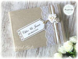 Luxury Rustic Handmade Personalised Linen Wedding Guest Book Vintage Rose & Lace