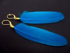 A PAIR OF LONG BLUE FEATHER  DANGLY LEVERBACK HOOK  EARRINGS.