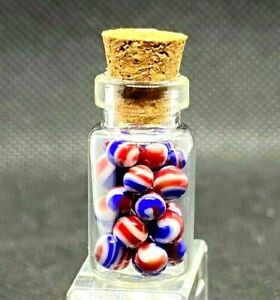 """STUCKENBERG GLASS MARBLE BOTTLE SET/.117""""-INDEPENDENCE MICRO SET-27 MARBLES/FAST"""
