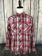 WRANGLER Mens L Long Sleeve Pearl Snap Country Western Button Up Red Plaid Large