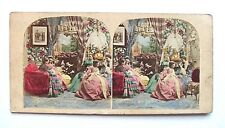 PHOTO STÉRÉOSCOPIQUE STEREOVIEW / SCÈNE DE GENRE MAISON CLOSE COLORISÉE