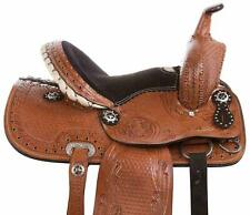 """New Premium Leather Western Barrel Racing Horse Saddle Size (14"""" to 18"""") Inch"""
