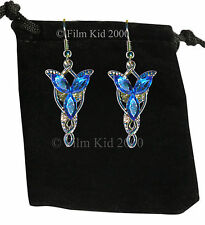 EVENSTAR Earrings Silver BLUE Crystals LOTR Lord Of The Rings Hobbit Arwen