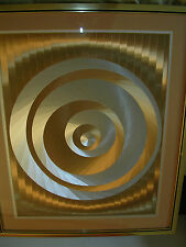 Large framed mid century foil op optical art print gold, silver style of Dupre