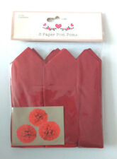 3 RED POM POMS MYO 30cm Hanging Decs TISSUE PAPER BALLS Party WEDDING PHOTO PROP