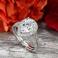Real 10K White Gold Pear Shape Halo Split Shank Engagement Ring 2.50 Ct Diamond