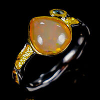 Opal Ring Silver 925 Sterling Beauty Rainbow9x8mm Size 9 /R128961