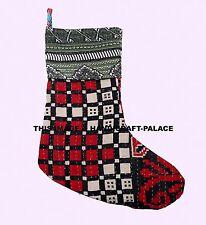 Personalised Kantha Embroidered Xmas Stocking Luxury Santa Deluxe Christmas Toys