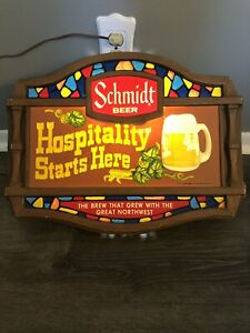 """Vintage 1977 Schmidt Beer Plastic Sign Stained Glass """"Hospitality Starts Here"""""""