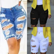 Women High Waist Ripped Hole Denim Shorts Jean Summer Hot Pants Casual Plus Size