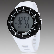 White OHSEN Womens Digital Quartz LED Light For Diving Rubber Band Wrist Watch