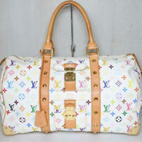 Louis Vuitton LV M92641 Multicolor White Keepall 45 Blanc Boston Hand Bag Used