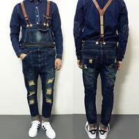 Newest Men's Denim Distressed Suspender Trousers Overalls Skinny Jeans Jumpsuit