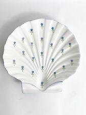 """Seashell & Flower Plate / Platter Beachcomber by Otagiri  Japan  10"""" Shell Shape"""