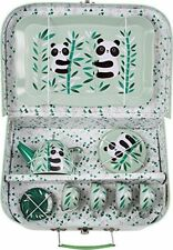 Sass & Belle Aiko Panda Picnic Box Tea Set Green Kids Vintage Toy Role Play