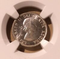 1953 CANADA NO SHOULDER FOLD 10 CENTS NGC MS 64 - Silver